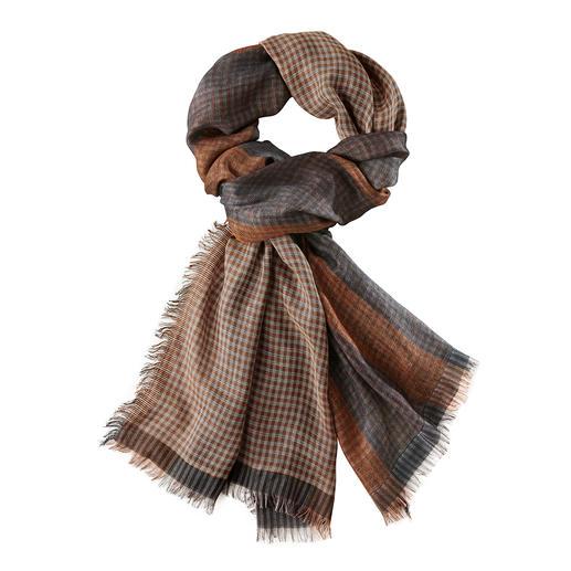 Foulard aux motifs mixtes & couleurs automnales Ascot - Mélange de motifs tendance, rarement tissés de manière aussi élaborée en double chaîne.