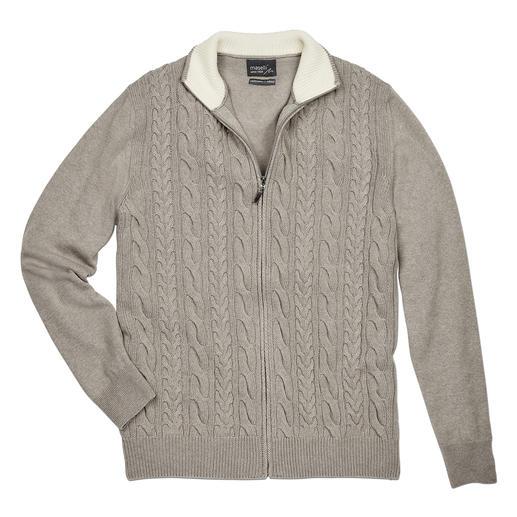 Cardigan torsadé à zip Maselli Mélange moderne de motif à torsades. Mélange noble de mérinos. Fabriqué en Italie par Maselli.