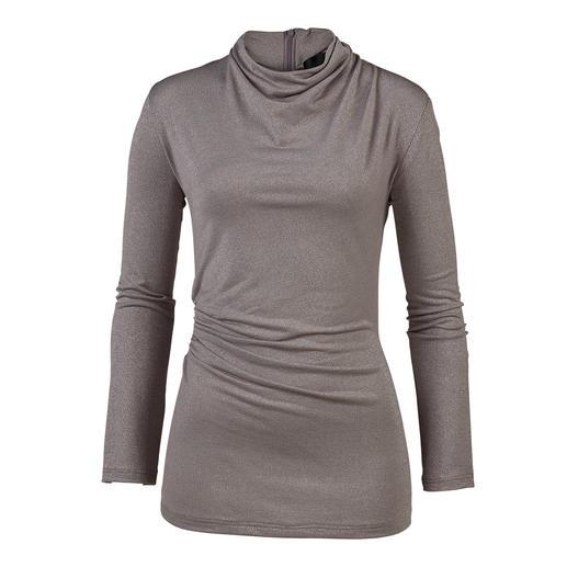 Shirt pailletté à manches longues Barbara Schwarzer Top à la mode avec paillettes, fronces et col roulé. Par Barbara Schwarzer, Düsseldorf.