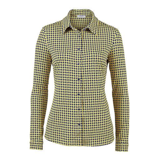 Chemise en jersey KD-Klaus Dilkrath, jaune/bleu Aussi élégante qu'un chemisier. Aussi confortable qu'un T-shirt. La chemise en viscose et jersey soyeux.