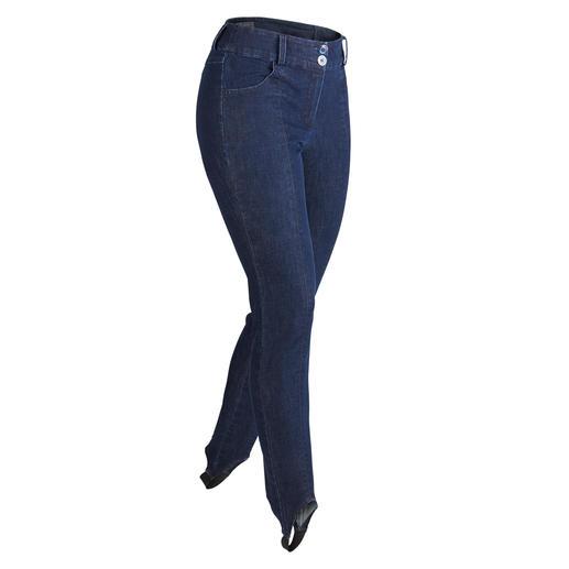 Pantalon fuseau en jean Le denim si apprécié, enfin également parfait pour le fuseau à talonnette. Seyant toujours lisse et sans plis.