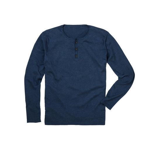 Pull à col tunisien en coton Pima Luxueux tricot fin au lieu d'un simple tissu T-shirt : ce pull-over col tunisien se porte dessous comme dessus.