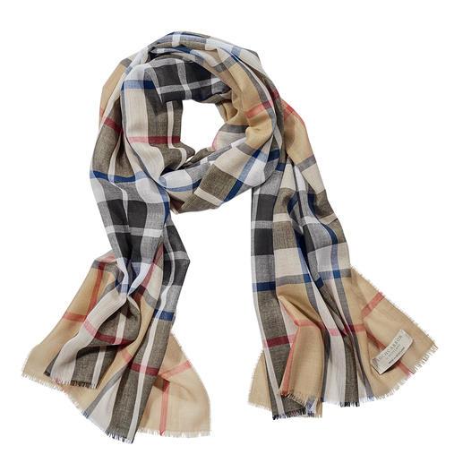 Écharpe à tartan Thompson Camel Modern Lochcarron Motif Thompson Camel Modern original. Pure laine. Fabriqué en Écosse par Lochcarron.