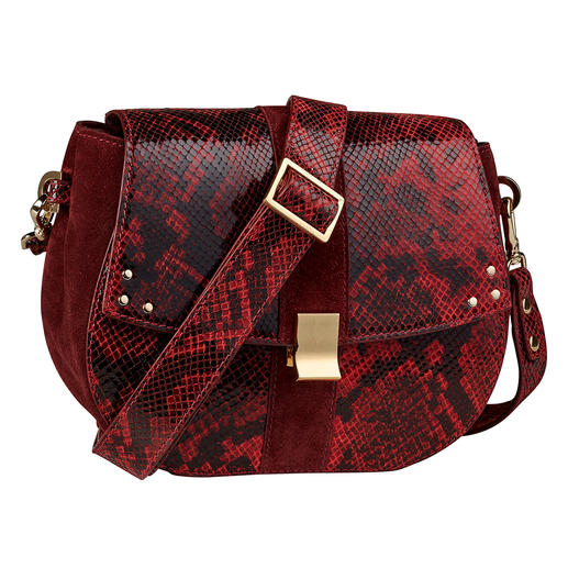 Sac Berlin-Grace ADAX Un sac à main peut difficilement être plus tendance. Couleur rouge. Motif reptile. Label ADAX.