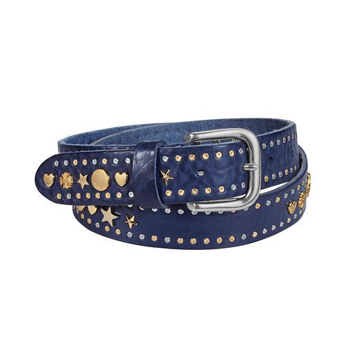 Ceinture à rivets In Vita Rivets, cœurs et étoiles bicolores : la ceinture en cuir tendance fabriquée en Italie. Par In Vita de Vérone.