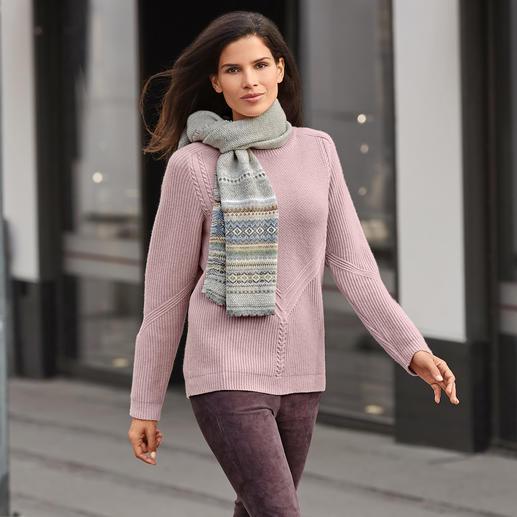 Pull en tricot structuré 4 fois tendance. Purement naturel. Et en même temps moins cher que beaucoup de pulls similaires.