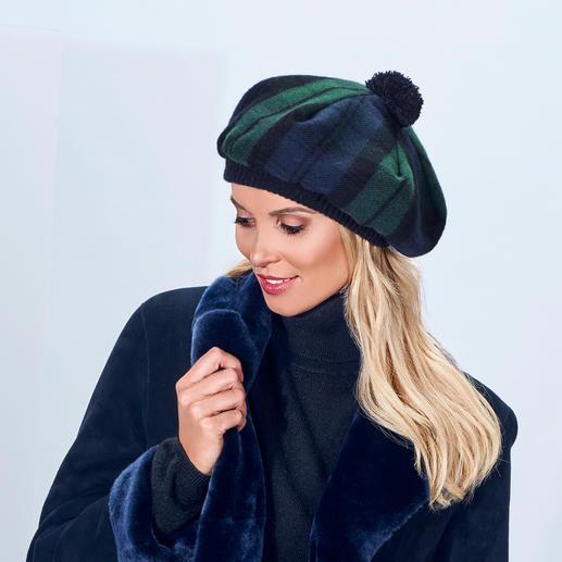 Béret écossais Lochcarron En tartan Black Watch Modern caractéristique. Pure laine vierge. Fabriqué en Écosse. Par Lochcarron.