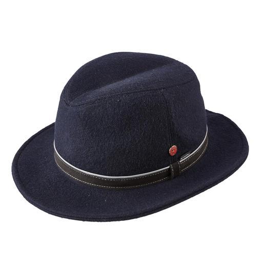 Chapeau en laine SympaTex® Mayser Le chapeau en laine tous temps de Mayser : imperméable, coupe-vent et respirant. L'élégance de la laine.