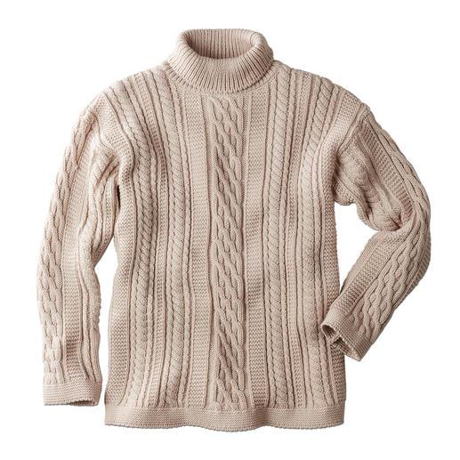 Pull-over à col roulé en tricot Aran Peregrine pour homme La réponse stylée aux multiples motifs torsadés fantaisie : le motif traditionnel Aran tricoté en Angleterre.