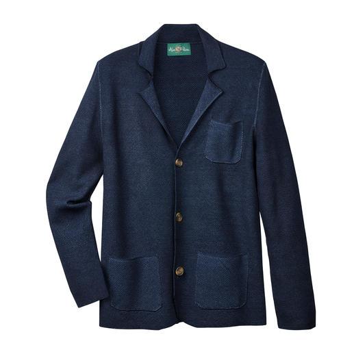 Tricot de laine + piqué léger : aérien et pourtant indéformable. Tricot de laine + piqué léger : aérien, pourtant indéformable. La veste estivale en tricot léger d'Alan Paine.
