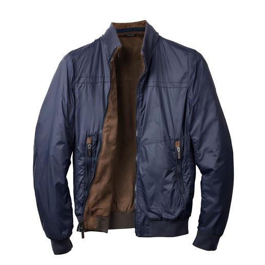 Veste réversible en chèvre velours Gimo's La veste en cuir réversible avec côté en nylon résistant. Du spécialiste du cuir Gimo's, Italie.