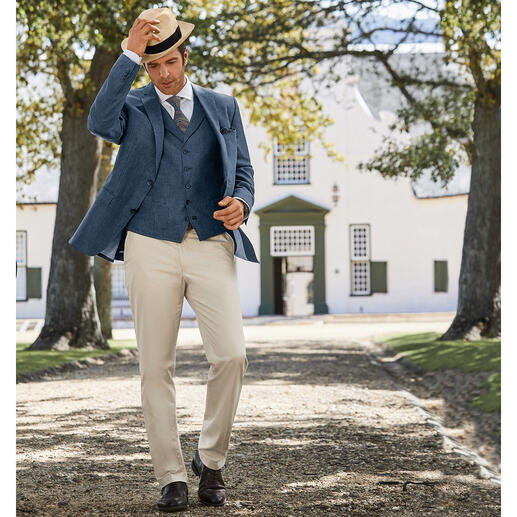 Gilet ou Veston en lin Carl Gross Un vrai gentleman – même par 30 degrés à l'ombre. Un modèle rare : le duo en pur lin.
