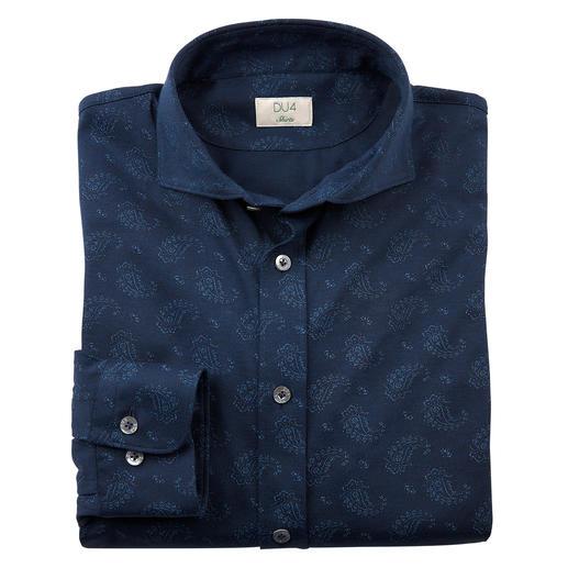 Chemise en jersey paisley Dorani Lisse, sombre et au motif discret : voici comment une chemise en jersey peut être élégante.