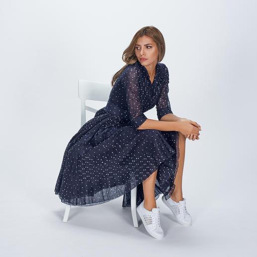 Robe à pois Samantha Sung Légère mousseline de coton. Motif à pois intemporel. Style rétro élégant des années 40 et 50 par Samantha Sung.