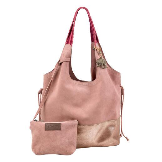 Sac à main Anokhi, rosé Léger et décontracté, pratique et facile à associer. Le sac citadin en cuir vachette velours souple et doux.