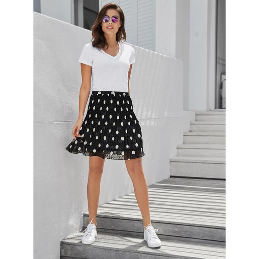 Jupe à pois Liu Jo Pois + plissé permanent = très à la mode et facile d'entretien. La jupe à pois de Liu Jo, Italie.