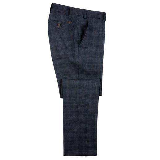 Pantalon d'affaire en lin chiné Eurex by Brax Aéré, sans être trop décontracté : le pantalon en lin pour le quotidien. Motif à carreau bleu foncé.