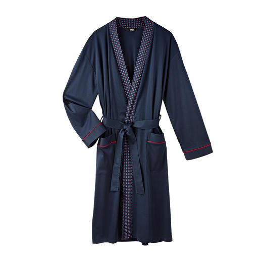 Peignoir pour gentleman Un jersey bleu foncé élégant au lieu de tissu éponge bouclette.