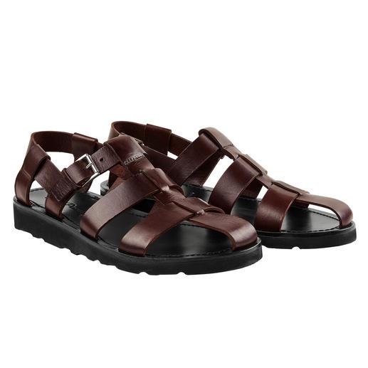 Sandale Piaceri Plus noble. De meilleure qualité. Et convient même sur un costume. La sandale en cuir faite main.