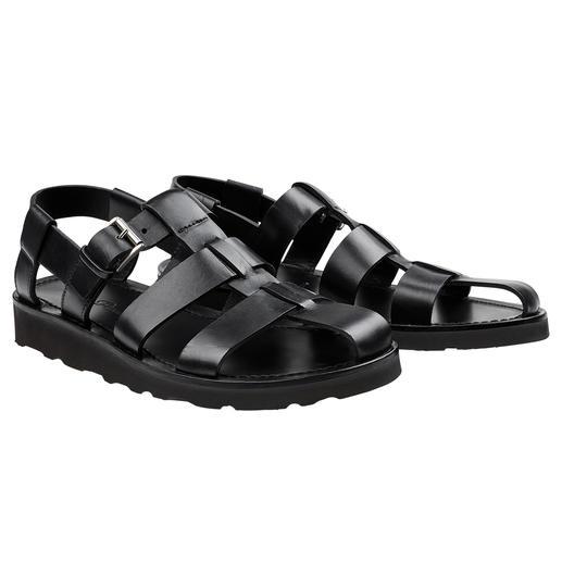 Sandale Piaceri, Noir Plus noble. De meilleure qualité. Et convient même sur un costume. La sandale en cuir faite main.