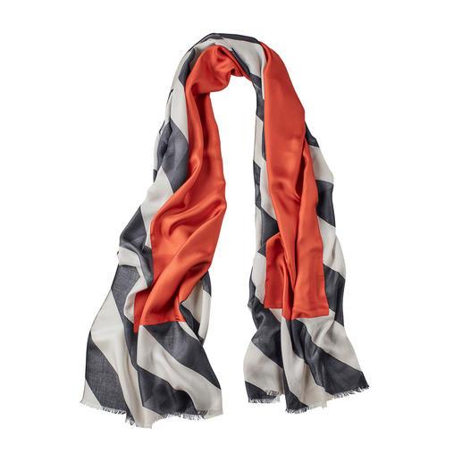 Foulard réversible Abstract Aujourd'hui, un classique en noir et gris. Demain, une tendance avec les accents de couleur rouge brique.
