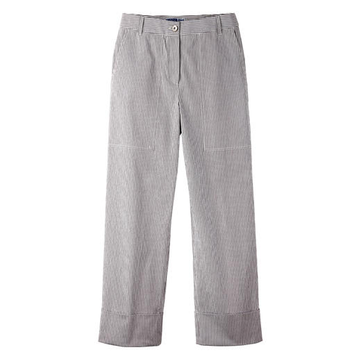 Pantalon à rayures en Seersucker Le pantalon d'été 2020 : coupe top tendance. Tissu classique aéré et léger.