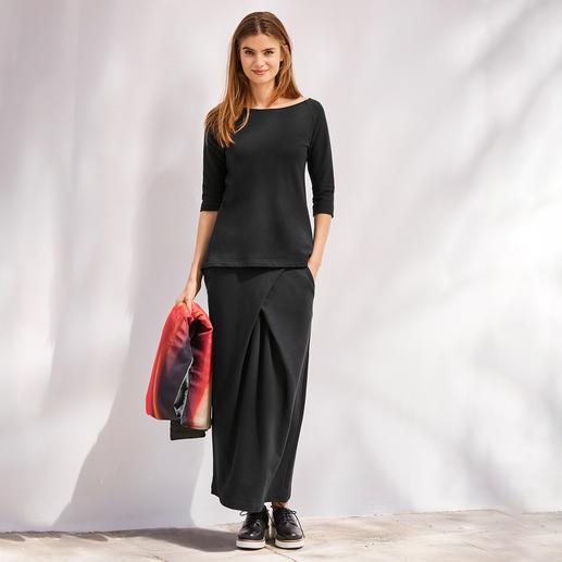 Shirt à manches 3/4 ou Jupe maxi en jersey [schi]ess Un noir élégant. Du jersey doux. Une coupe couture raffinée. Par [schi]ess.