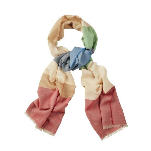 Foulard 6 couleurs Lochcarron Le foulard 6 couleurs en laine, soie et lin. De Lochcarron of Scotland.