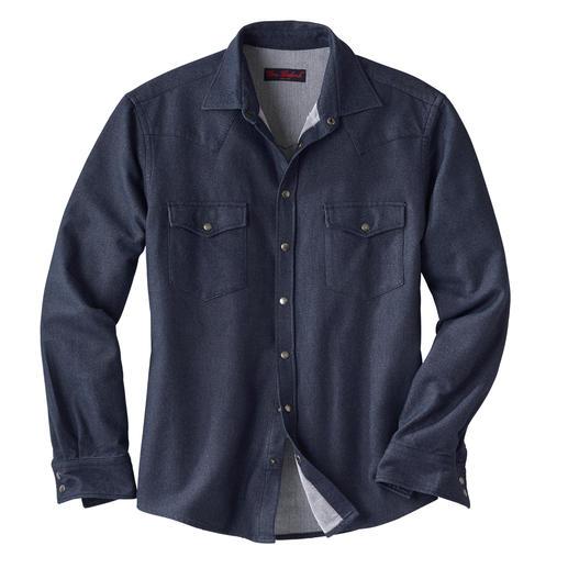 Chemise jean en flanelle Travaillée en flanelle douce. Et si chaude que vous pouvez également la porter comme surchemise.