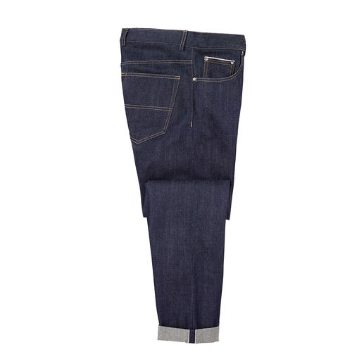Jean Selvedge japonais Un jean brut, foncé, aux fils teintés avec un bord de lisière authentique. Une rareté de Kuroki Mills.