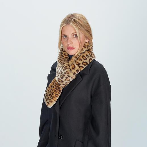 Foulard léopard à boucle molliolli Mise à jour tendance d'un classique élégant : le foulard en fausse fourrure léopard de haute qualité.