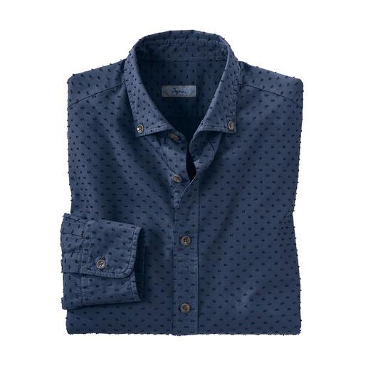 Chemise à pois tridimensionnelle Ingram Fabriqué minutieusement selon le processus de Shearing. Par le spécialiste italien de la chemise, Ingram.
