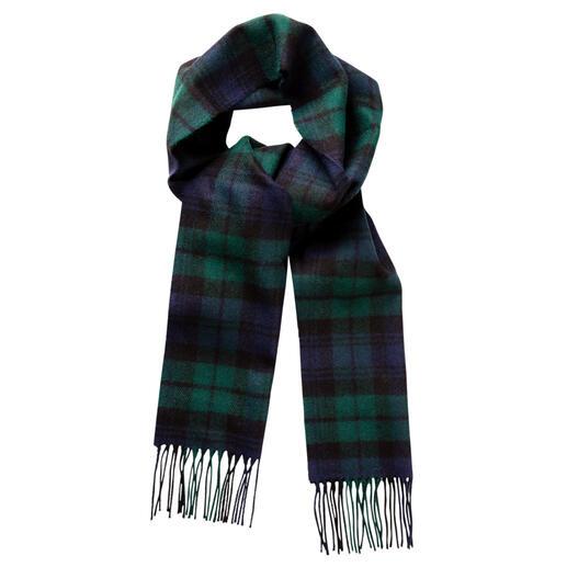 Écharpe à tartan Thompson Motif Thompson Camel Modern original. Pure laine. Fabriqué en Écosse par Lochcarron.