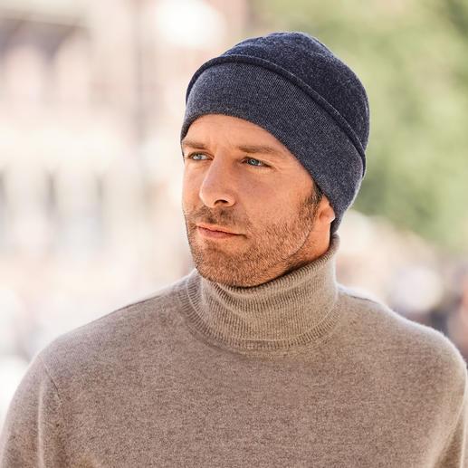 Bonnet réversible sans couture Seldom Facilement réversible : laine mérinos bleu uni ou coton Giza gris chiné. Par Seldom.