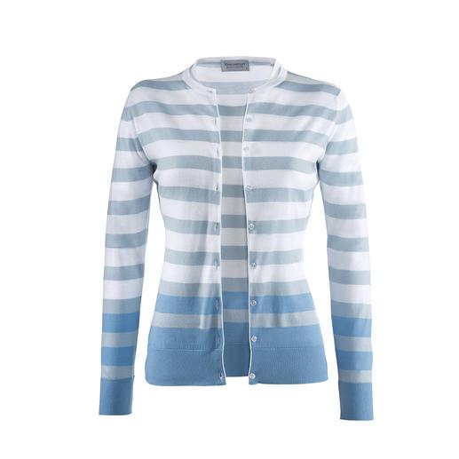 Twin-set à larges rayures Smedley, blanc/bleu Couleurs actuelles, rayures tendance. Le twin-set en tricot fin, par John Smedley, Angleterre.