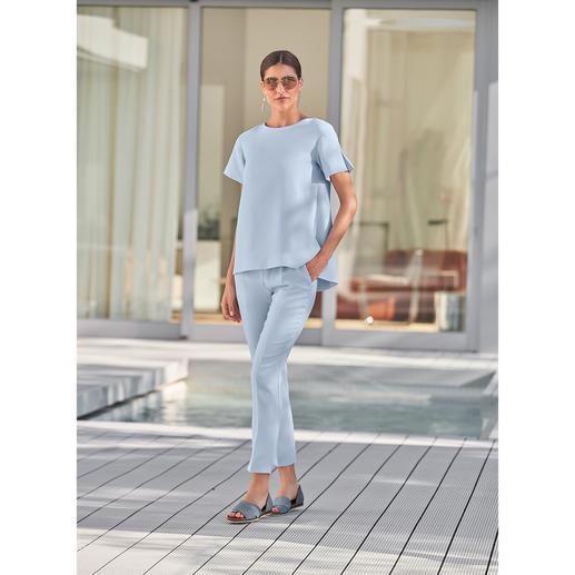 Pantalon ou chemisier 24 heures SLY010, bleu Design tendance. Crêpe idéale en voyage. Coupe flatteuse confortable. De SLY010, Berlin.