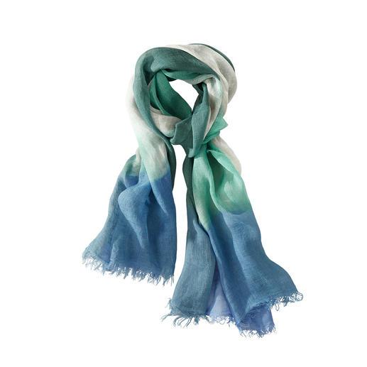 Châle Dip-Dye en lin Ancini Unique : le châle en lin avec dégradé artistique, coloré à la main. Fabriqué en Italie. Par Ancini.