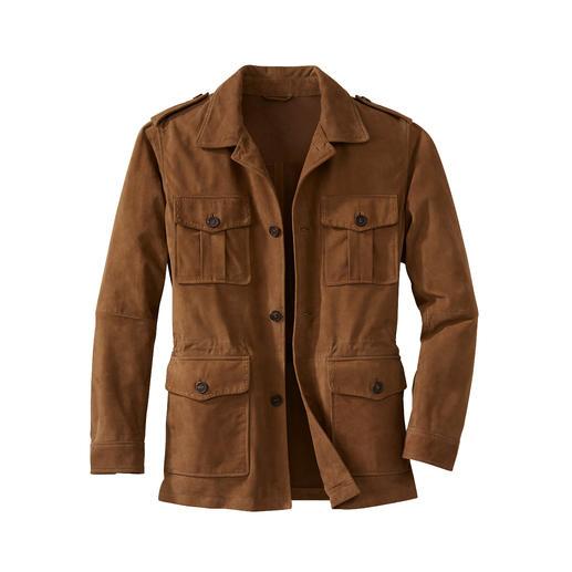 Field Jacket en cuir lavable Votre veste en cuir pour l'été et pour la machine à laver. En suède de chèvre non doublé.