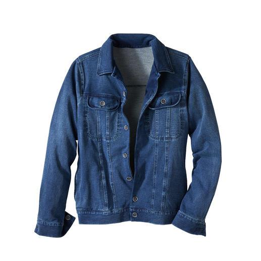 Veste en jean et jersey La veste en jean classique – enfin aussi confortable que votre cardigan préféré.