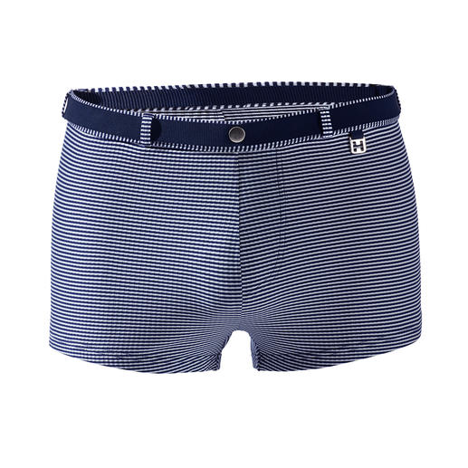 Short de bain à rayures HOM Plus mate, plus noble, et plus durable que la plupart. Short de bain tissé jacquard de HOM, France.
