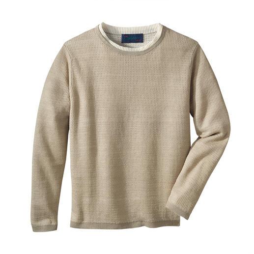 Pull climatique en lin Carbery Doublement aéré : un tricot en pur lin avec pores climatiques supplémentaires. De Carbery.
