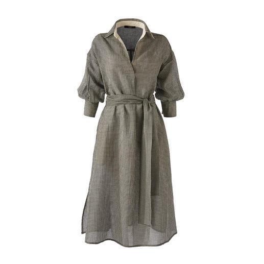 Rarement féminine : la robe chemisier en seersucker de coton/lin aéré. Rarement féminine : la robe chemisier en seersucker de coton/lin aéré.