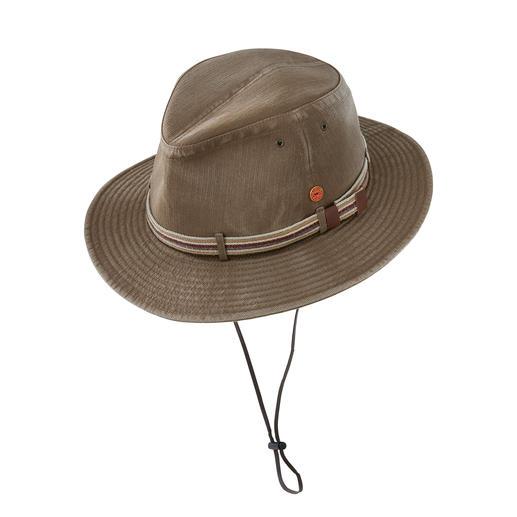 Chapeau de voyage Mayser Léger. Pliable. Lavable. Avec protection UV 80. Par Mayser. Chapellerie allemande depuis 1800.