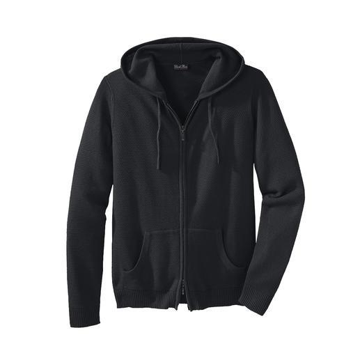 Sweat à capuche tricoté, pour homme Un vêtement détente au tricot fin à gauge 12, plus léger et non pas plus lourd. En coton Pima et soie.
