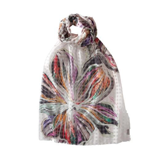 Foulard floral à carreaux Association artistique : motif à carreaux avec imprimé floral. Foulard d'été léger en coton et soie.