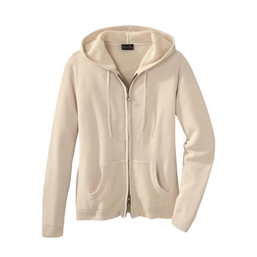 Sweat à capuche tricoté, pour femme Un vêtement détente au tricot fin à gauge 12, plus léger et non pas plus lourd. En coton Pima et soie.