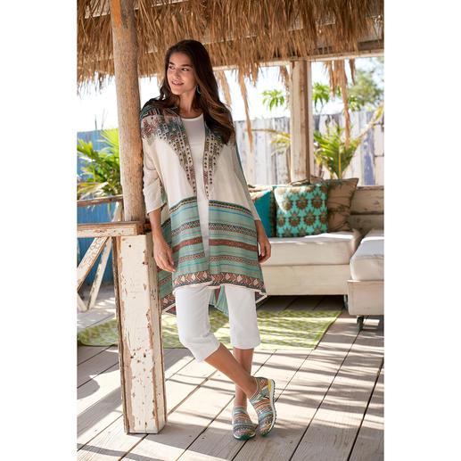 Veste en tricot kimono IVKO, turquoise/abricot Tricot intarsia exceptionnellement multicolore à forme kimono tendance. De IVKO.