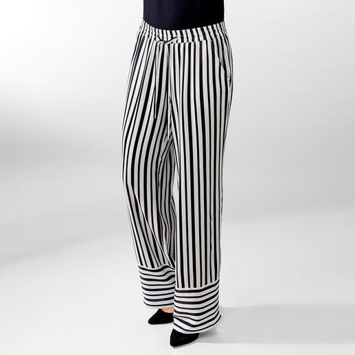 Pantalon à rayures Palazzo Léger. Aéré. Simple d'entretien. Et incroyablement polyvalent.