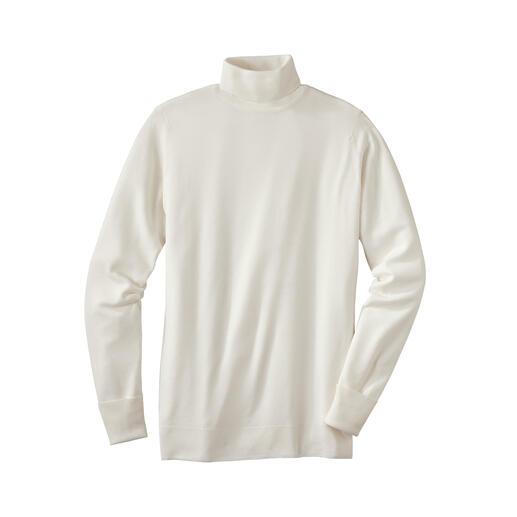 Difficile de faire plus fin ! Le pull en fine laine de mérinos pèse moins de 300 grammes. Et trouve sa place dans toute serviette en cuir.