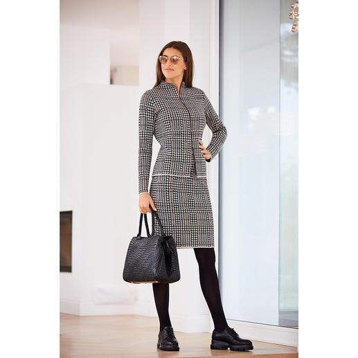 Cardigan ou Jupe motif pied-de-poule Un look digne du tapis rouge. En laine mérinos fine, extensible et légèrement réchauffante.